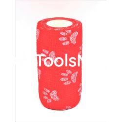 Bandaż kohezyjny 10cm x 450cm czerwony w łapki