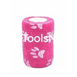 Bandaż kohezyjny 15cm x 450cm różowy w łapki